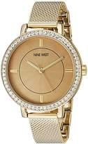 Nine West Women's NW/1832CNGB Swarovski Crystal Accented Gold-Tone Mesh Bracelet Watch