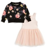 Truly Me Infant Girl's Floral Print Sweater & Tulle Dress Set