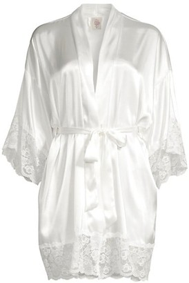 In Bloom The Bride Satin & Lace Wrapper Robe
