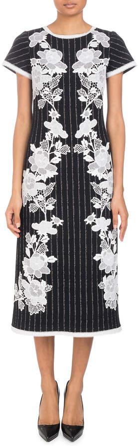 Andrew Gn Round-Neck Cap-Sleeve Metallic-Pinstripe Dress with Lace Applique