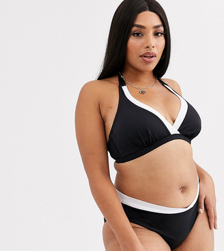 Dorina Curve plunge bikini top in monochrome