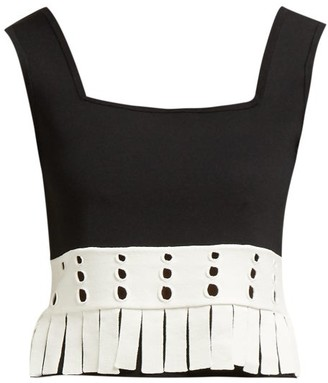 STAUD Paradise Fringed Crop Top - Womens - Black White