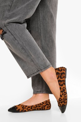 boohoo Leopard Pointed Toe Cap Ballet Pumps