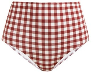 Belize - Pepe High-rise Gingham-print Bikini Briefs - Red White