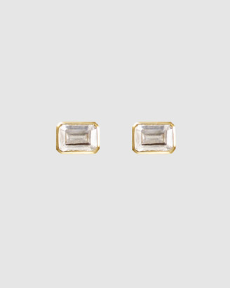 Wanderlust + Co Topaz Baguette Gold Sterling Silver Earrings