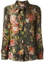 Saint Laurent ribbon accent crepe shirt - women - Silk/Polyester/Viscose - 40