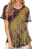 Sakkas 16787 - Splenka Long Tie Dye Embroidered Corset Neck Cap Sleeve Blouse Shirt Top - OSP