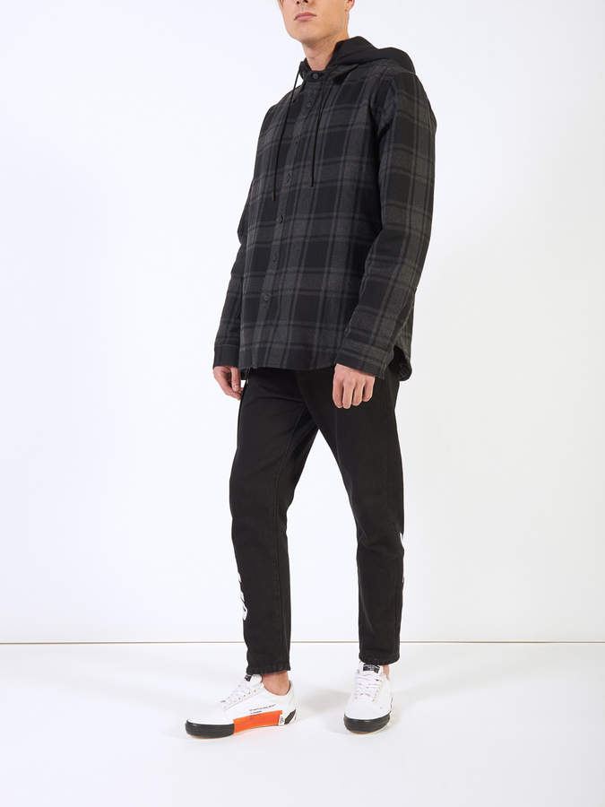 Off-White Off White Hooded checked flannel jacket