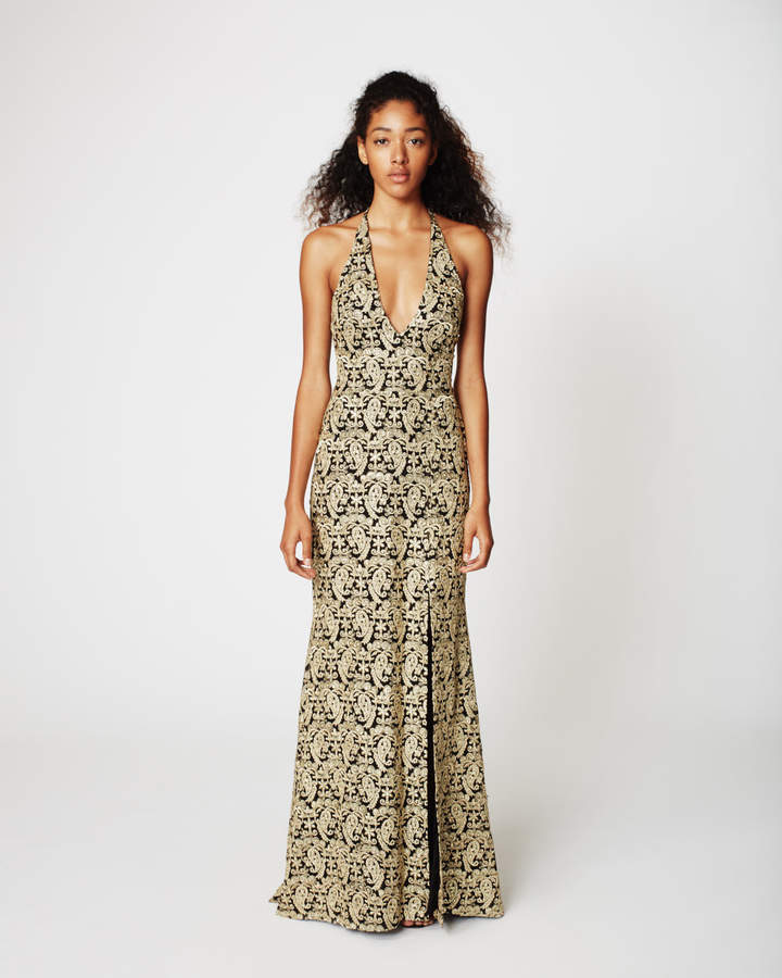 Nicole Miller Gold Paisley Gown