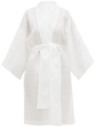 Rossell England - Angled Linen Kimono-style Robe - White