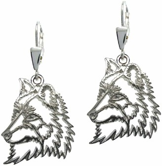 HH H&H 7000571 Women's Pull-Through Earrings Silver Paws Wolf Rhodium-Plated 925 Silver 2 cm