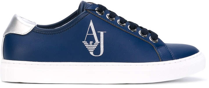 Armani Jeans metallic logo stamp sneakers