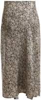 Masscob Leaf-print silk wrap skirt