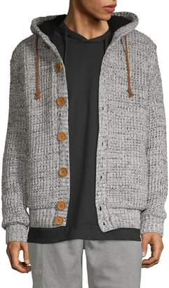American Stitch Waffle-Knit Button-Front Hooded Cardigan