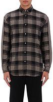 Robert Geller Men's Plaid Combo Cotton Flannel Shirt-TAN, BLACK