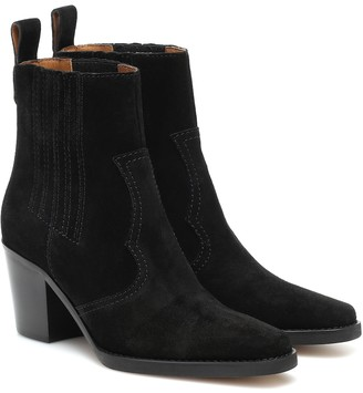 Ganni Western suede ankle boots