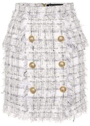 Balmain Exclusive to Mytheresa Metallic checked tweed miniskirt