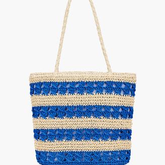Talbots Straw Getaway Tote - Blue Stripe