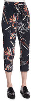 Maiyet Relaxed Floral-Print Slouch Pants, Navy Multi