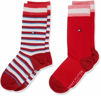 Tommy Hilfiger Girl's Th Kids Sock 2p Lurex Stripe Calf