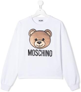 Moschino Kids TEEN sequin bear sweater