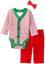 Vitamins Baby Holiday Striped Bodysuit, Pant & Dot Bow Tie Set (Baby Boys)