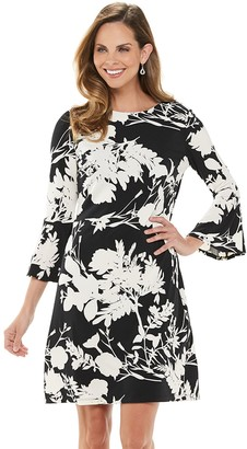 Chaps Women's Floral Bell-Sleeve Sheath Dress