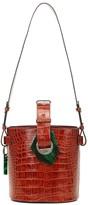 Ganni Croc-effect leather bucket bag