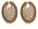 Oscar de la Renta Bead-embellished lattice-disc earrings