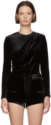 Unravel Black Velvet Draped Bodysuit