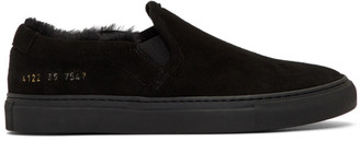 Common Projects Black Shearling Slip-On Sneakers