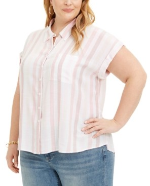 Style&Co. Style & Co Plus Size Striped Camp Shirt, Created for Macy's
