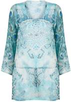 Elizabeth Hurley Peacock Embellished Kaftan, White, S