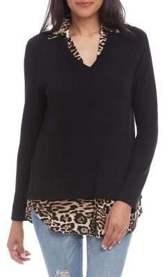 Karen Kane Raglan-Sleeve Layered Sweater