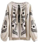 Goodnight Macaroon 'Tess' Bohemian Embroidered Peasant Blouse