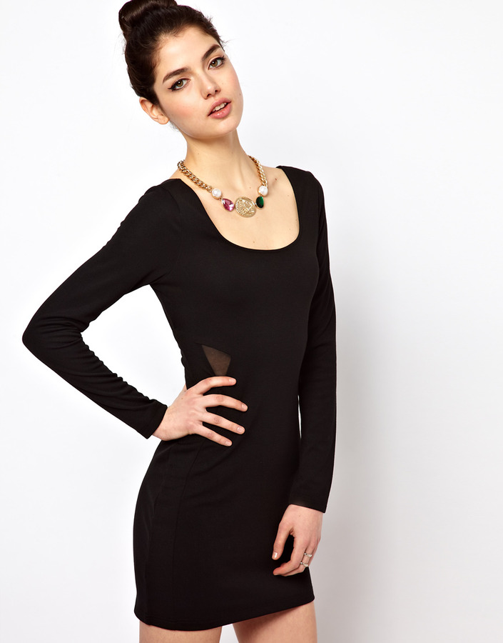 Paprika Mesh Sides Body-Conscious Dress