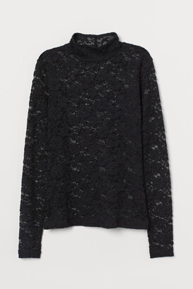H&M Lace Mock-turtleneck Top