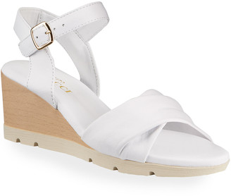 Sesto Meucci Maci Leather Wooden Wedge Sandals