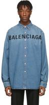 Balenciaga Indigo Denim Logo Shirt