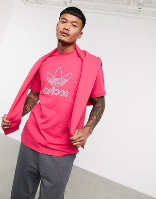 adidas t-shirt with outline trefoil in pink