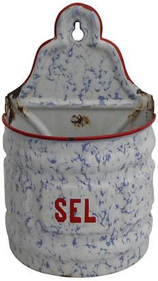 One Kings Lane Vintage Belgian Enamel Salt Canister - majolicadream