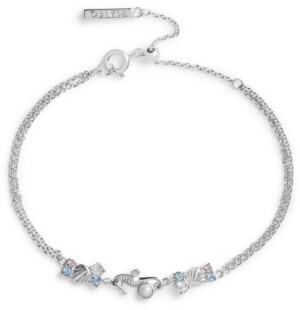 Olivia Burton Imitation Pearl & Swarovski Crystal Seahorse Chain Bracelet in Rhodium-Plated Brass