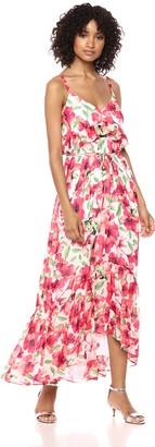 Calvin Klein Women's Spaghetti Strapped Maxi with Self Tie Waist Dress