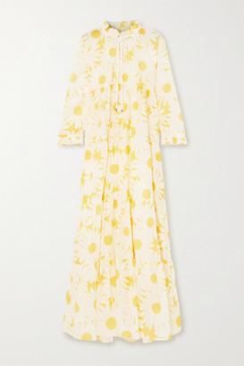 Eywasouls Malibu Cora Tiered Floral-print Cotton-voile Maxi Dress - Yellow