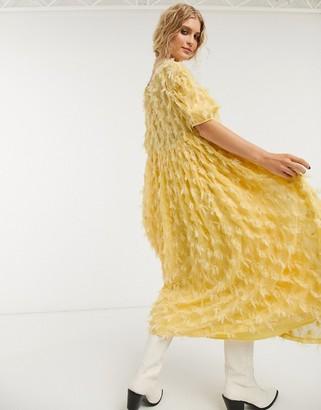 Sister Jane oversized mdi smock dress with full skirt in texture
