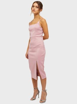 Miss Selfridge PETITE Pink Square Neck Scuba Midi Dress