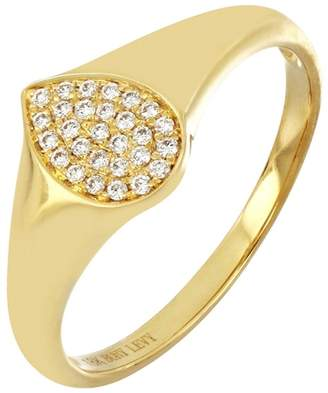 Bony Levy 18K Yellow Gold Pave Diamond Pear Signet Ring - 0.11 ctw