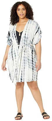 Becca by Rebecca Virtue Plus Size Tide Pool Tie-Dye Kimono Cover-Up (Black) Women's Swimwear