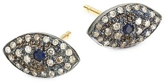 Nina Gilin Black Rhodium-Plated, Diamond & Sapphire Eye Stud Earrings