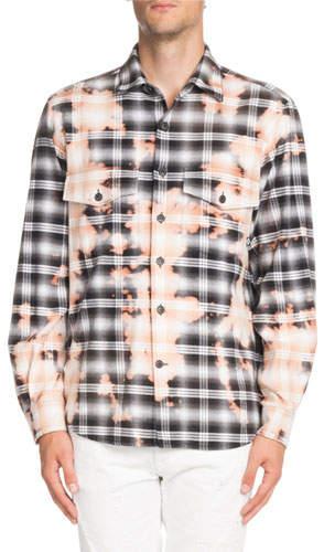 Marcelo Burlon County of Milan Bleach-Distressed Plaid Shirt